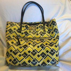 Kate Spade geometric yellow black tote